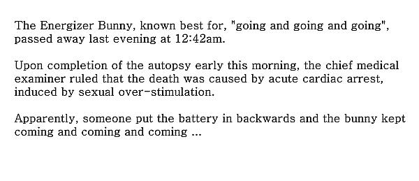 Energizer bunny joke