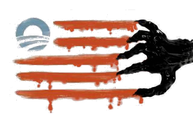 New, obama, American, USA, flag, dripping, blood, claw