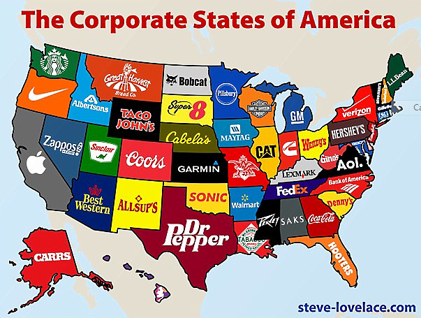 Map Of The USA According To Brands And Products THE STEEL DEAL - Us map pi